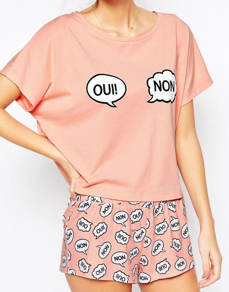 Image 3 of ASOS Oui & Non Tee & Short PJ Set
