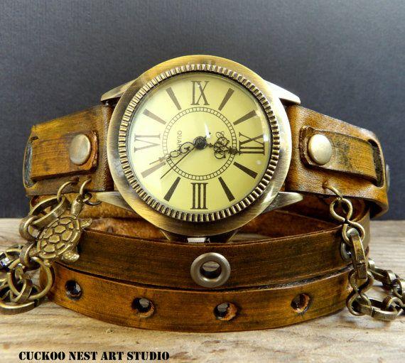 Brown Wrap Watch, Bracelet Watch, Wrist Watch, #accessories #watch @EtsyMktgTool #vintagewatch #wristwatch #braceletwatch #leatherwatch