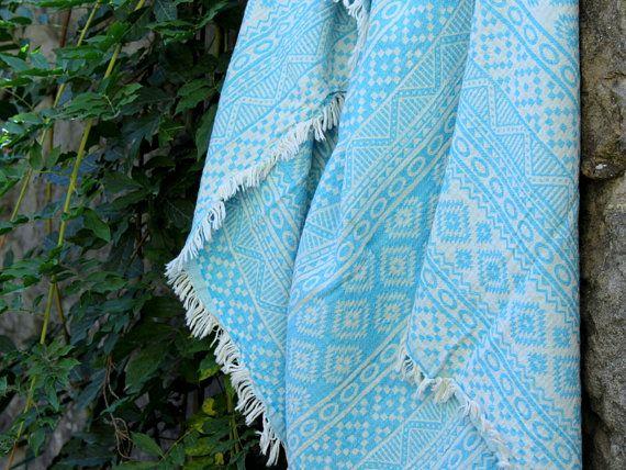 Geometric Beach Towel Bohemian Throw Blanket Turquoise Aztec Patterned Blanket Scarf Organic Cotton Southwestern Bath Towel Boho Style Home Linens