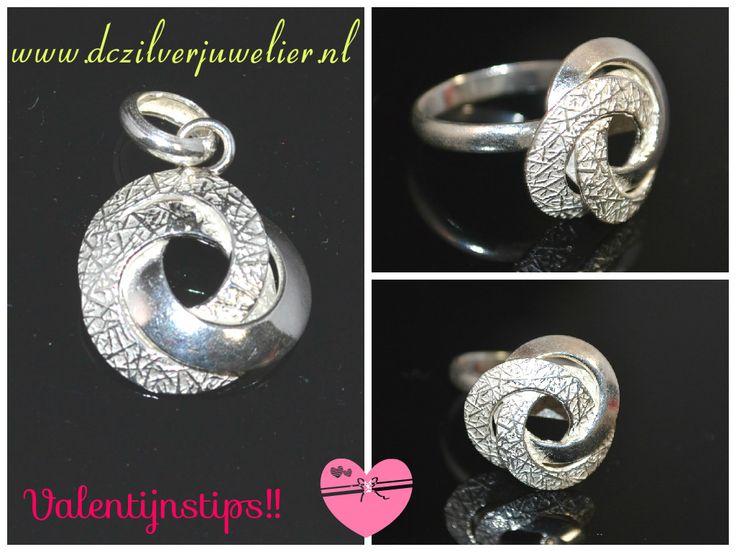 Het perfecte cadeau! Verwen je valentijn met deze prachtige hanger en verstelbare ring van zilver 950 Gratis verzending in Nederland www.dczilverjuwelier.nl