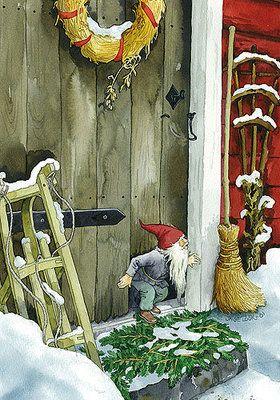 little gnome or elf at the door.  http://www.ivy-art.com/images/image/Inge-Look-Postkaarten-216.jpg