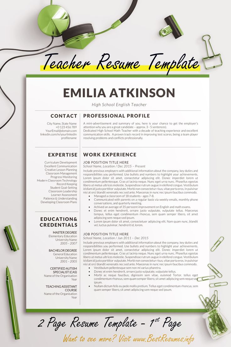 Teacher Resume Templates that stands out! This resume