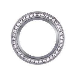 Medium Silver Wrap Locket Face with Crystals by Swarovski