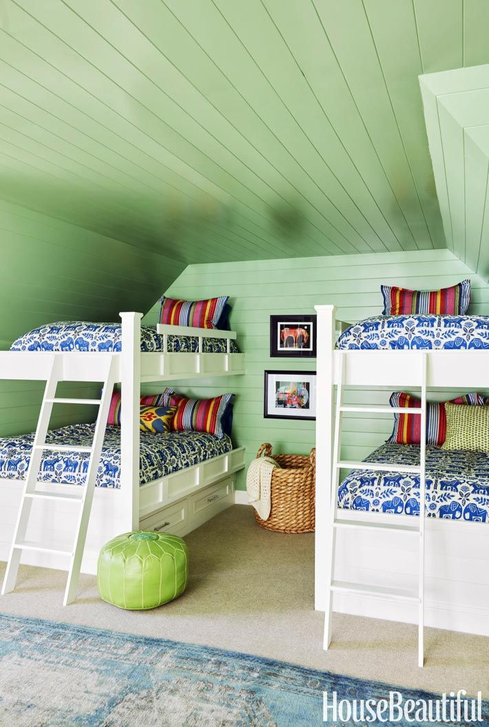 in the room painted in benjamin mooreu0027s gumdrop custom bunk beds have linens from the company store