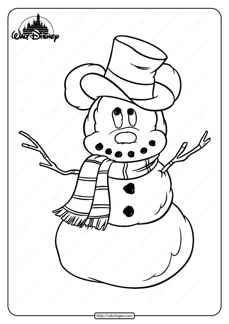 Printable Mickey Mouse a Snowman Pdf Coloring Page in 2020