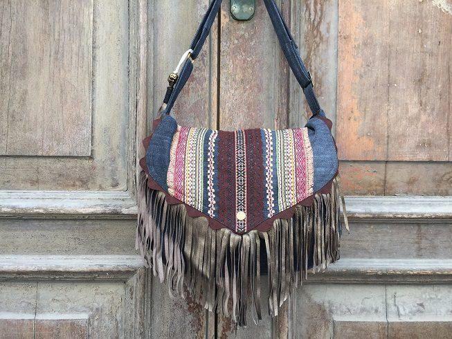 Bespoke designer handbag / purse/ Hippie shoulder bag / Bohemian cross body bag / ethnic sling bag / denim and leather bag / messenger bag by BelaCiganaBags on Etsy