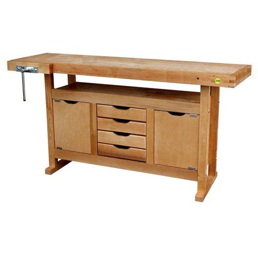 Etabli en bois OUTIFRANCE 150 cm, 2 portes et 4 tiroirs