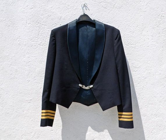 Vintage Handmade Cropped Navy Dress Coat / Military by tomacrafts, €50.00