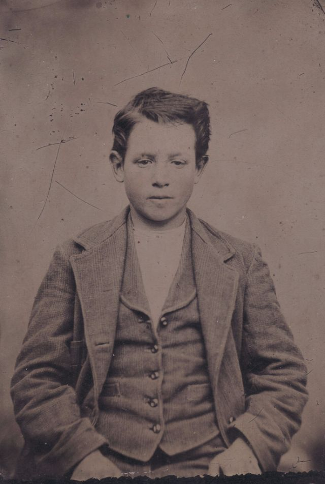 Teenage boys in their suit vests from the 1850s to 1880s