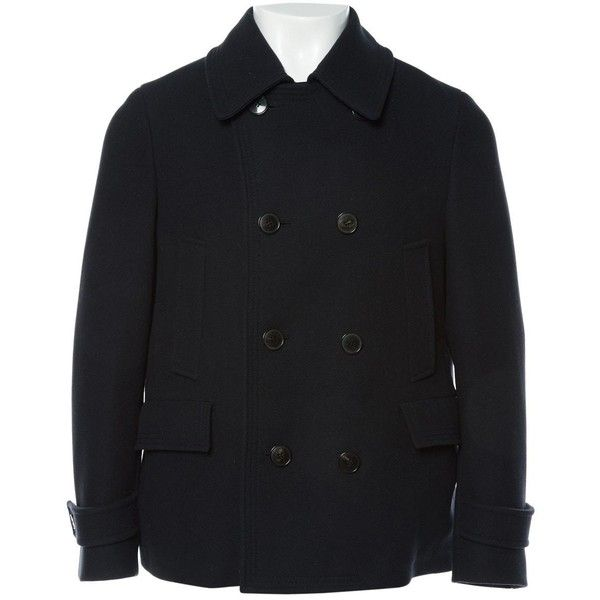 Pre-owned Gucci Wool Peacoat ($2,035) ❤ liked on Polyvore featuring men's fashion, men's clothing, men's outerwear, men's coats, men clothing coats, navy, men's navy wool coat, mens navy coat, mens short trench coat and mens wool coats