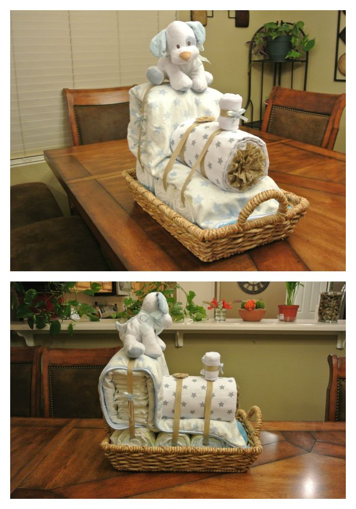 Train Diaper Cake - Cute, diaper cake for baby boy, train themed baby shower.