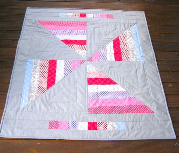 Modern Baby Quilt baby girl quilt pinwheel by BlackTulipQuilts, $160.00