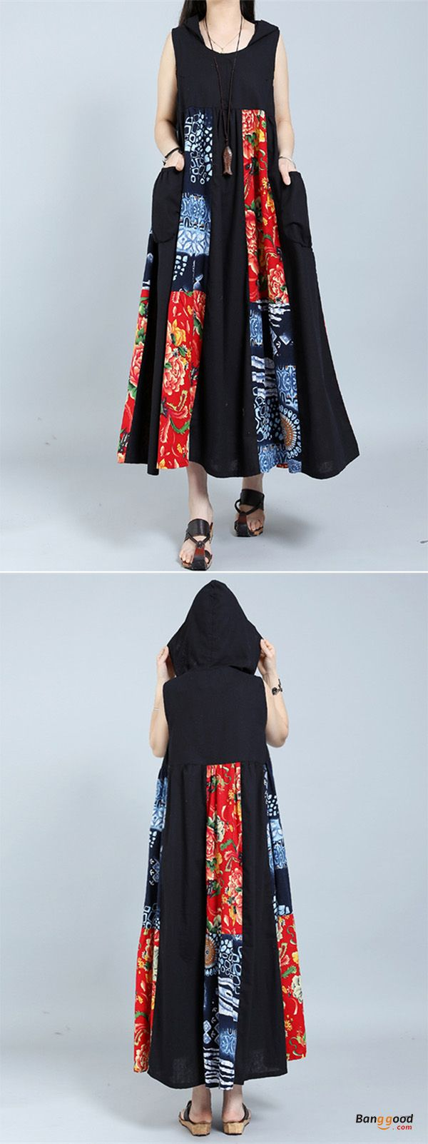 US$27.99 + Free shipping. Gracila Women's Vintage Sleeveless Patchwork Hooded Maxi Dresses. US Size: M-5XL. >>> To view further, visit now.
