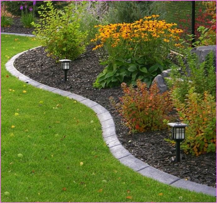 12 Amazing Ideas For Flower Beds Around Trees: Stone Flower Bed Edging Ideas