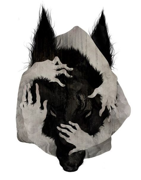 there is something about this wolf art that I love