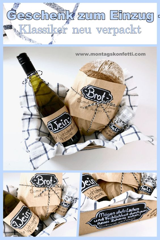 Brot, Salz und Wein – Klassisches Geschenk zum Einzug neu verpackt