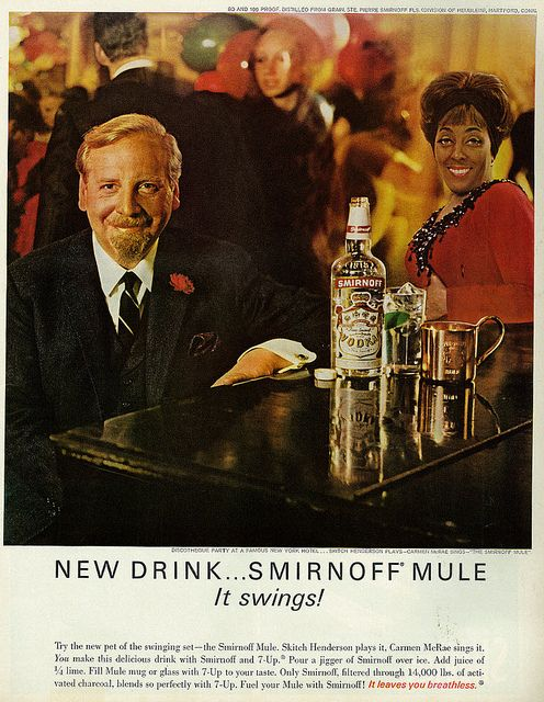 "1965 Liquor Ad, Smirnoff Vodka, with Skitch Henderson & Carmen McRae @ NY Discotheque Party, ""Smirnoff Mule"" 