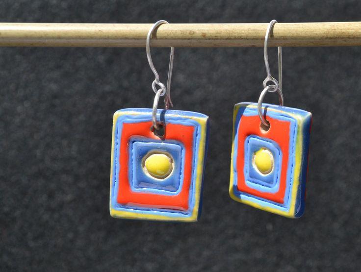 Ceramiczne kolczyki. Całość wykonana ręcznie. Handmade, ceramic earrings.