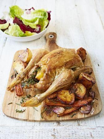 Friptură de pui cu cartofi și morcovi- jamie oliver