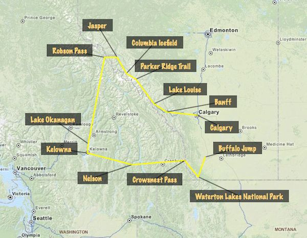 Road trip around the Canadian Rockies