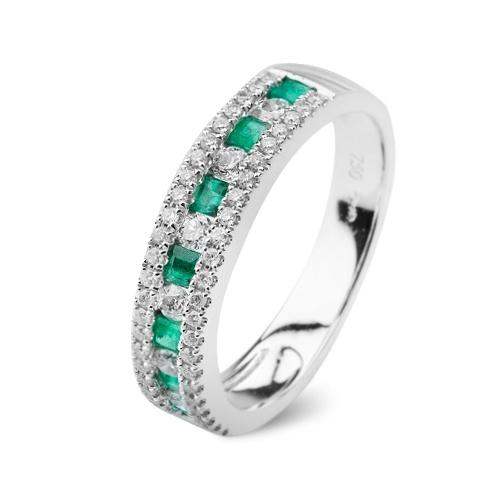 Inel cu smaralde si diamante C109