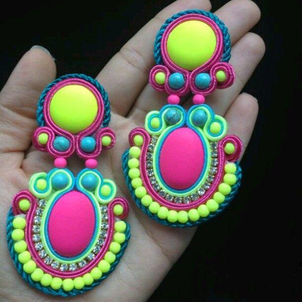 Soutache Neon earrings!!