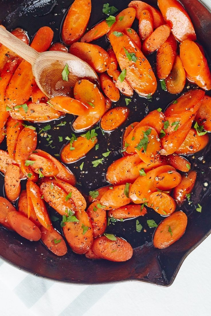 Bourbon-Glazed Carrots Recipe. Looking for ideas for recipes and side dishes? This is perfect for a steak dinner, and a delicious, easy way to eat more veggies. Made with brown sugar!