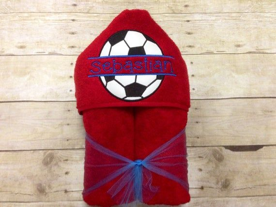 Personalized Boys Soccer Hooded TowelBoys Soccer Ball TowelSports TowelSports Beach Towel Soccer Beach Towel Soccer Ball Hooded Towel