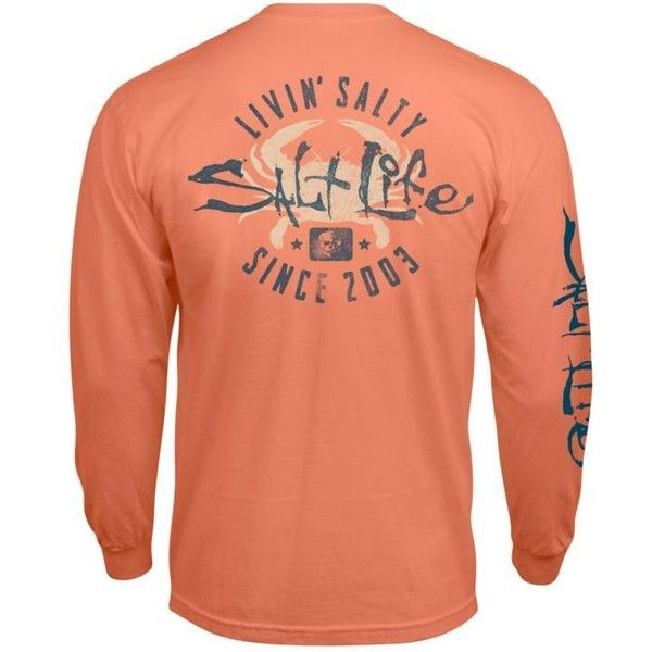 Salt Life Grapefruit Long Sleeve Pocket Salty Crab Graphic Tee ($25) ❤ liked on Polyvore featuring men's fashion, men's clothing, men's shirts, men's t-shirts, grapefruit, mens pocket t shirts, mens long sleeve cotton shirts, mens cotton t shirts, mens longsleeve shirts and mens long sleeve cotton t shirts