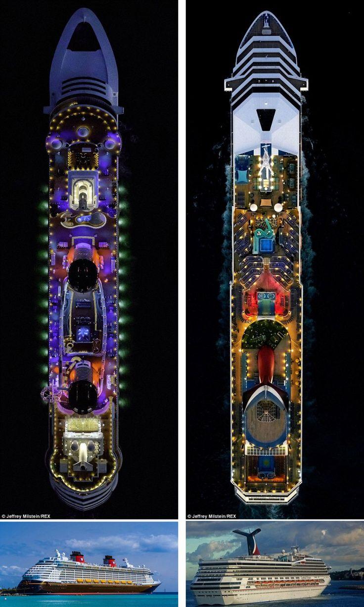 O navio de cruzeiro Disney Dream é radiante no mar, com um belo jogo de iluminação. À direita está o The Carnival Victory, que pode levar 2.754 pessoas e é uma visão impressionante à noite