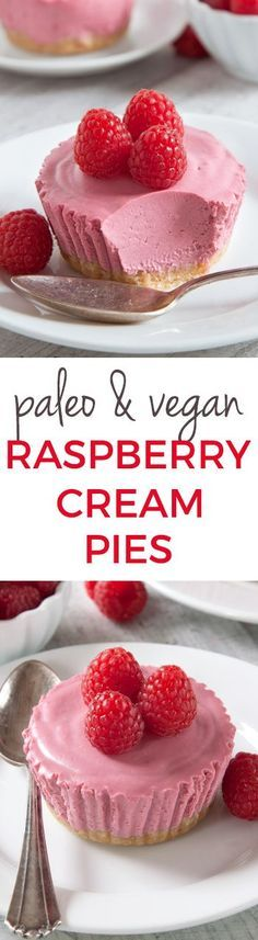 Paleo No-Bake Raspberry Cream Pies (vegan, grain-free, gluten-free, and dairy-free):