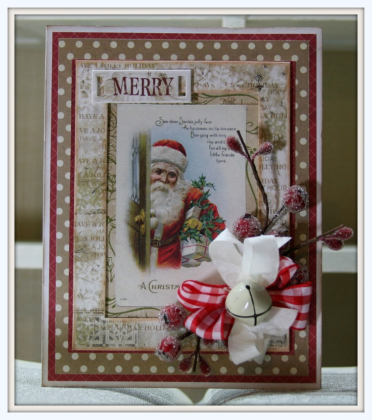 Vintage inspired christmas card use for a scrapbook page for Santa cards pinterest