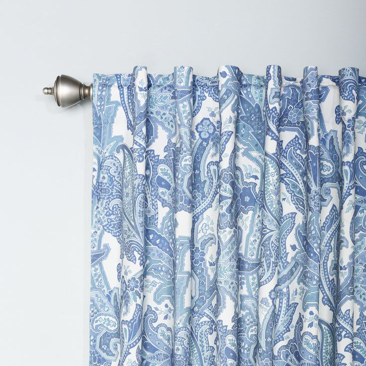 Best Home Fashion, Inc. Blue Paisley Rod Pocket Curtain Panels