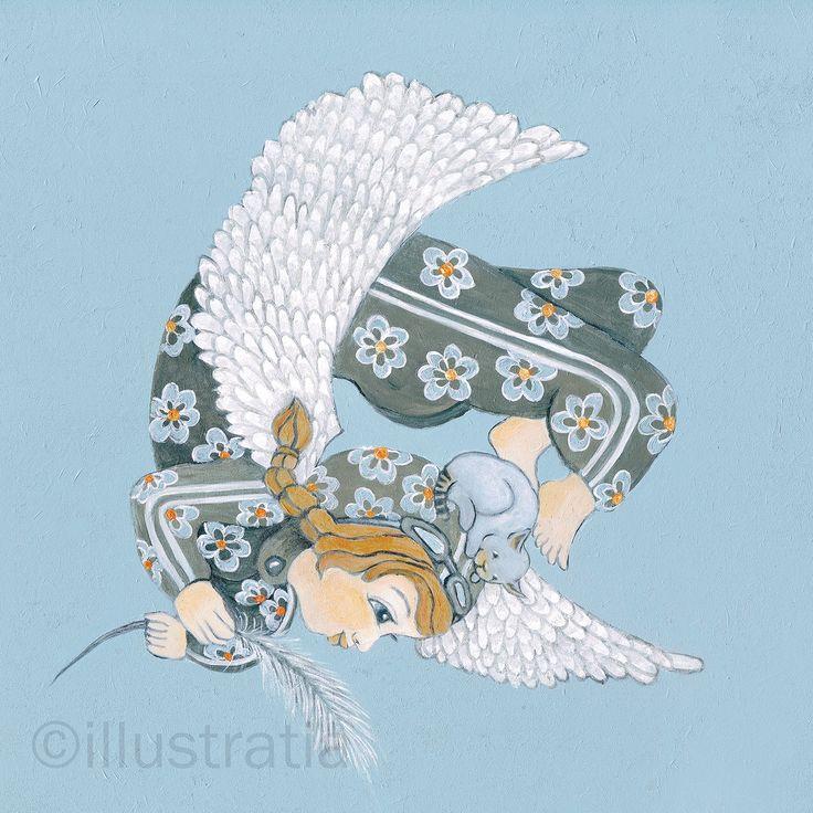 Acrylschildering op paneel 30x30 cm. Uit de 8-delige serie: 'angelical antics.' titel: 'tumbling'
