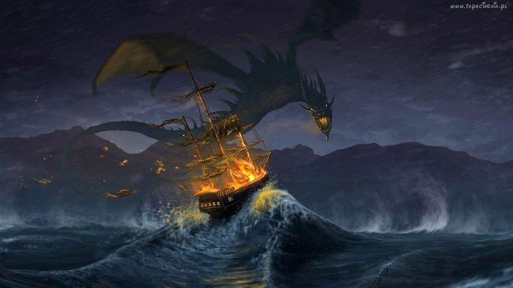 Fantasy, Smok, Morze, Fale, Żaglowiec