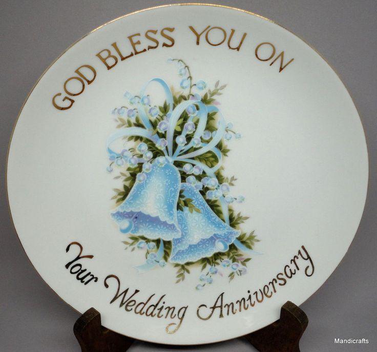 #Plate Bless You on Wedding #Anniversary Blue Bells Flowers by Saji Japan Vintage #Saji
