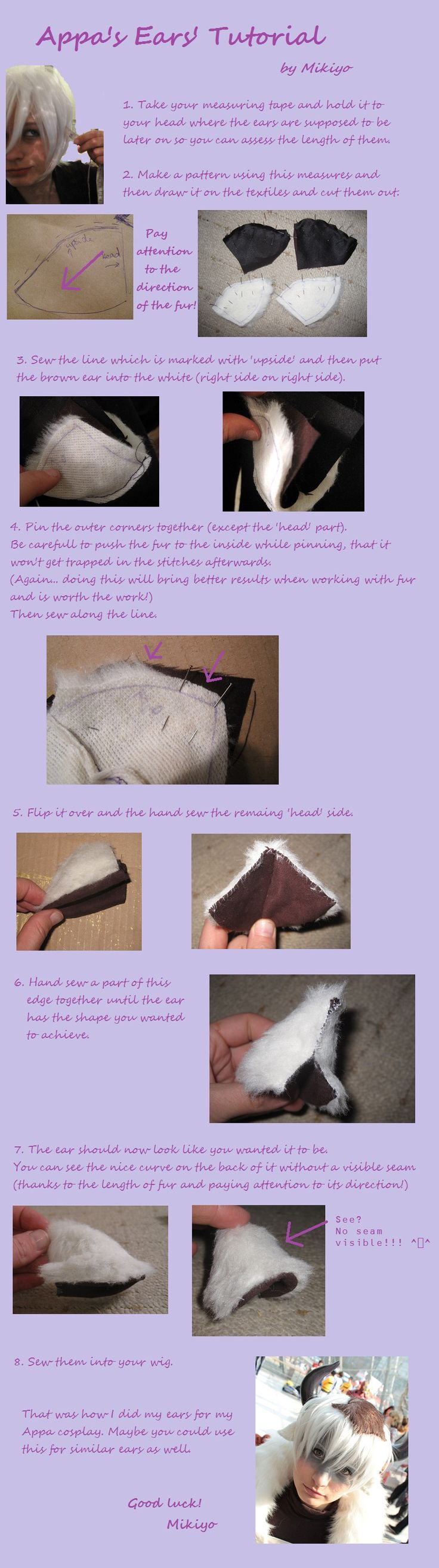 Tutorial for Appa's Ears by MikiyoOo by *MikiyoOo on deviantART could also use this for any Neko cosplays