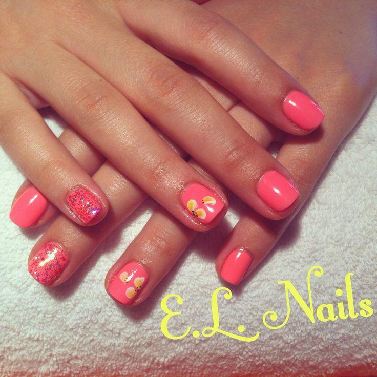 E.L. Nails #corral-glitter-floral