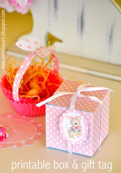 FREE printable favor box (+ with matching easter bunny tag)