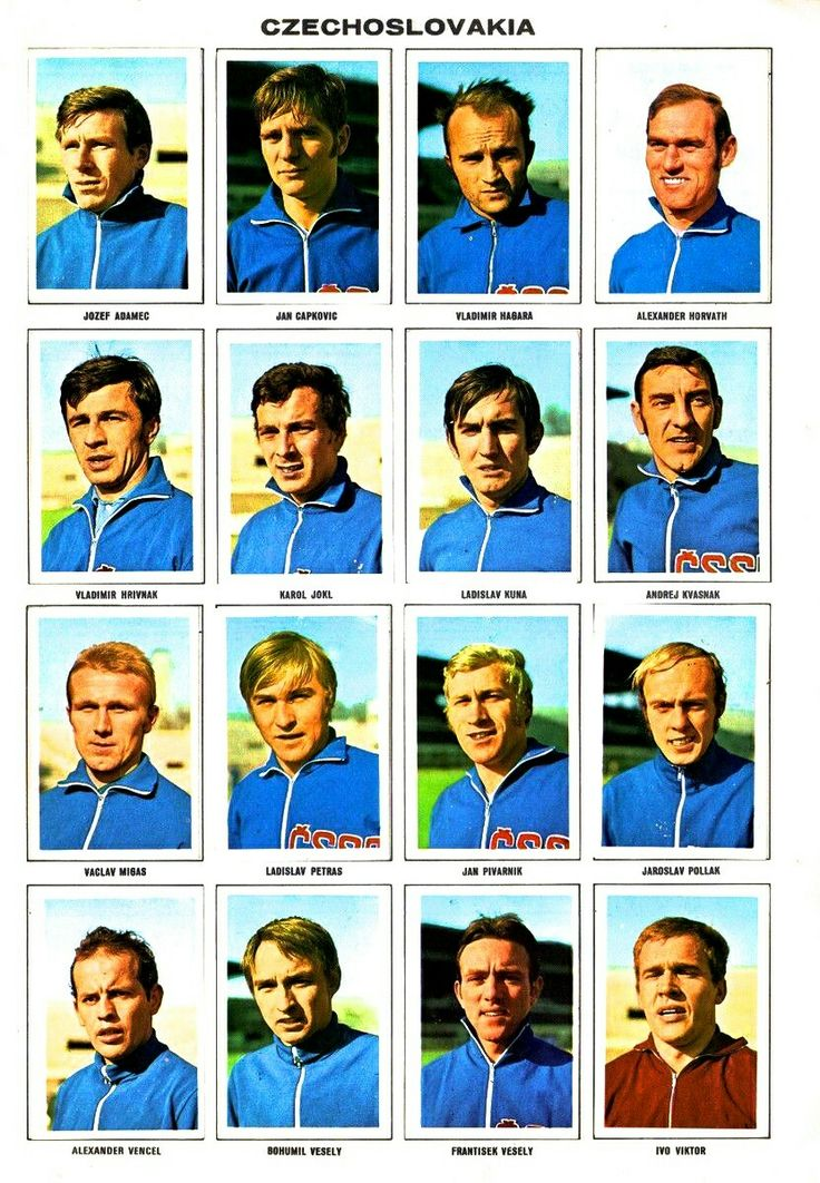Czechoslovakia team stickers for the 1970 World Cup Finals.