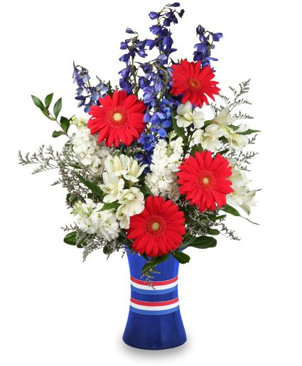 Flower Boquet Red White Blue Perfect For 4th Of