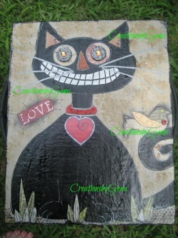 Painting Black Cat Primitive