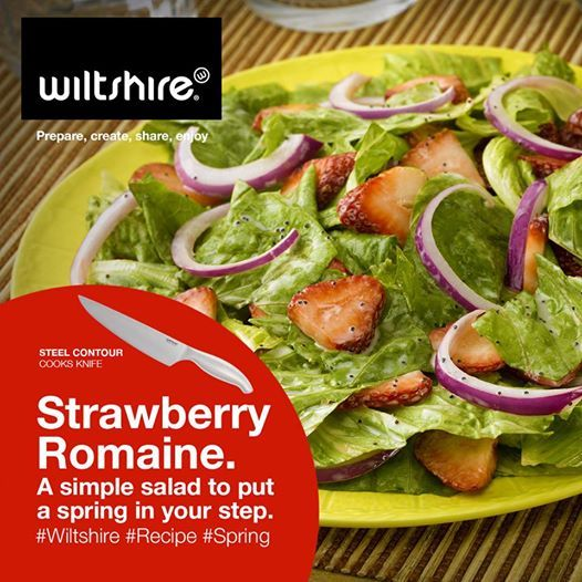 Strawberry Romaine. A simple salad to put a spring in your step. Find the recipe here: www.facebook.com/wiltshiresa