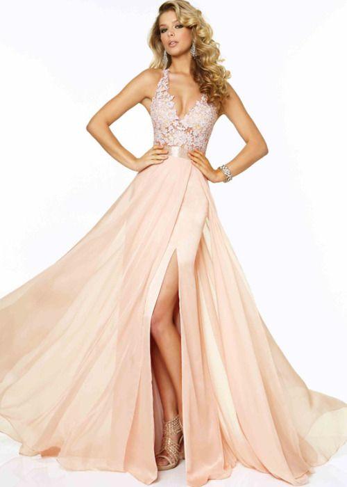 Long Blush Halter Beaded Lace Chiffon Prom Dress With Slit Leg - $179.00