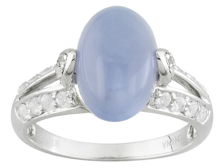 Oval Cabochon Blue Chalcedony With .32ctw Round White Zircon Sterling Silver Ring