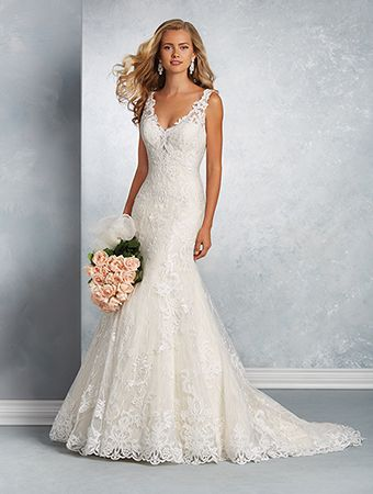 Alfred Angelo Style 2601: lace fit and flare wedding dress with low V-shaped neckline and plunging back