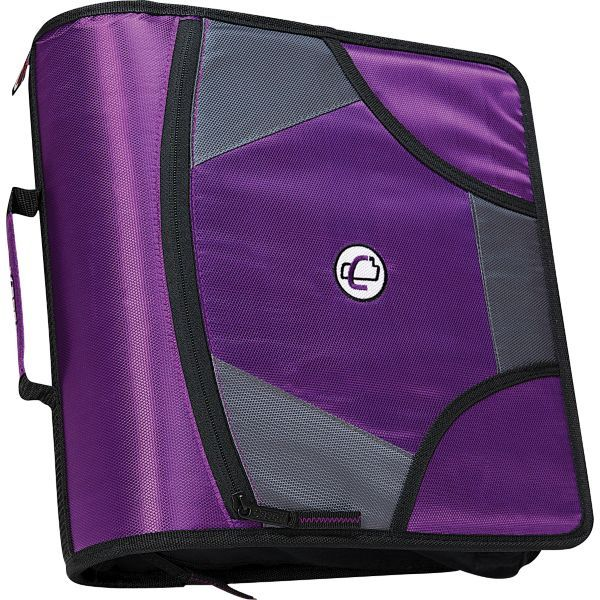 Case-it King-Sized Zip Tab 4-Inch D 3-Ring Zipper Binder, Purple (D-186 PUR) | Staples