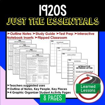 1920s Outline Notes JUST THE ESSENTIALS Unit Review, Study Guide, Test Prep American History Outline Notes, American History Test Prep, American History Test Review, American History Study Guide, American History Summer School, American History Unit Reviews, American History Interactive Notebook Inserts