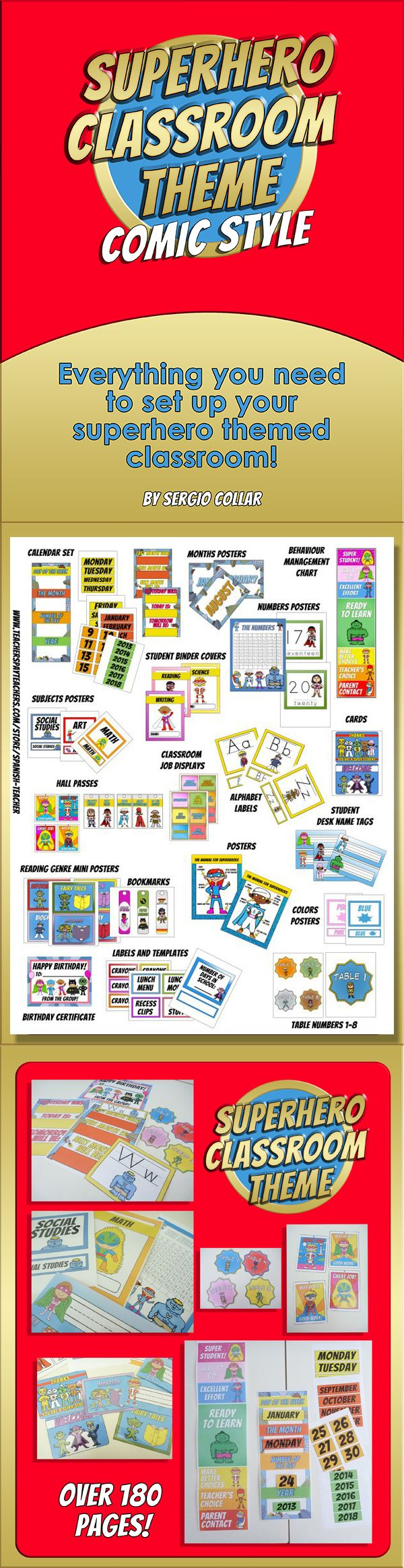 Everything you need to set up your superhero themed classroom! More than 180 pages! To see photos of some of the labels printed out, check the preview! $