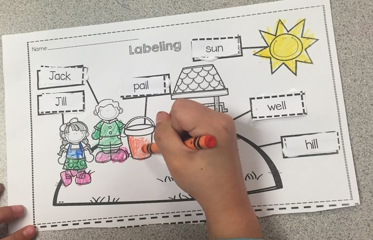 Kindergarten Sub Tub- Jack and Jill activities for a full day-  Labeling FREEBIE!